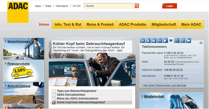 Die Homepage des ADAC
