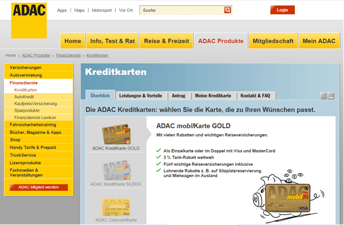 ADAC Kreditkarten Test