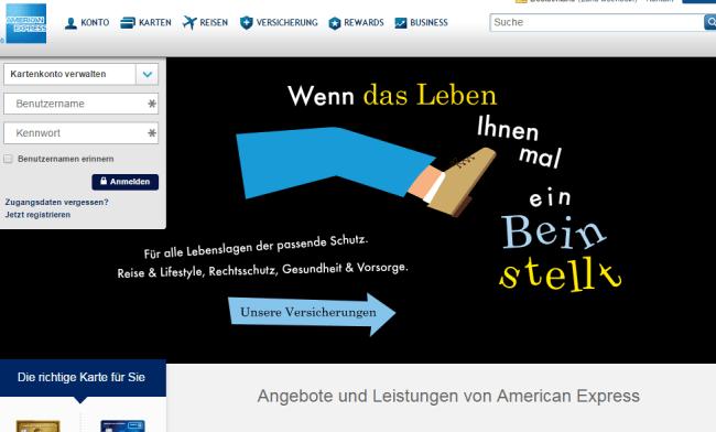 Blick auf Webseite von American Express Deutschland