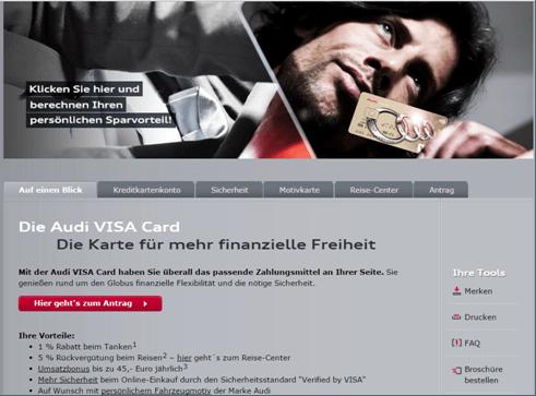 Die Informationsseite der Audi Visa Card.