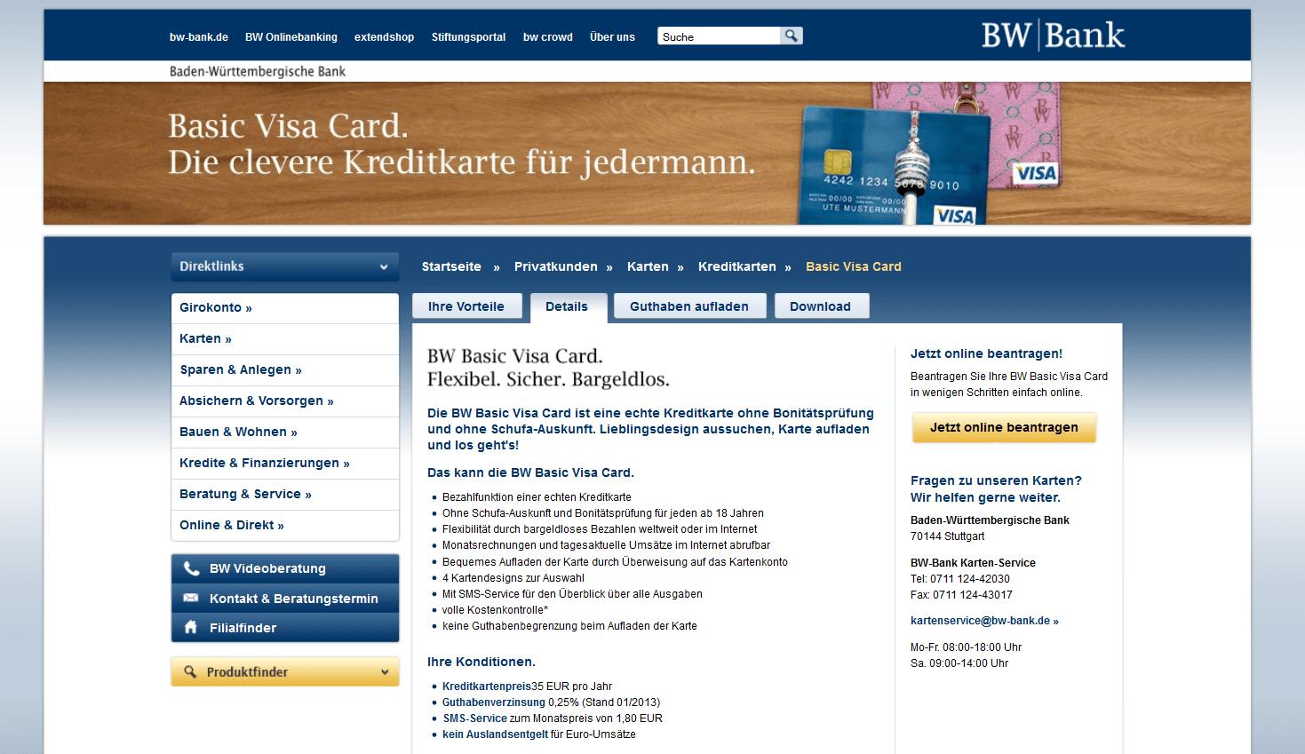 Die BW Basic Visa Card und ihre Vorteile