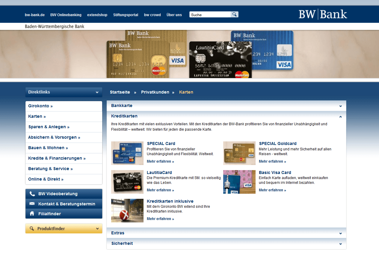 Das Kreditkartenangebot der BW Bank