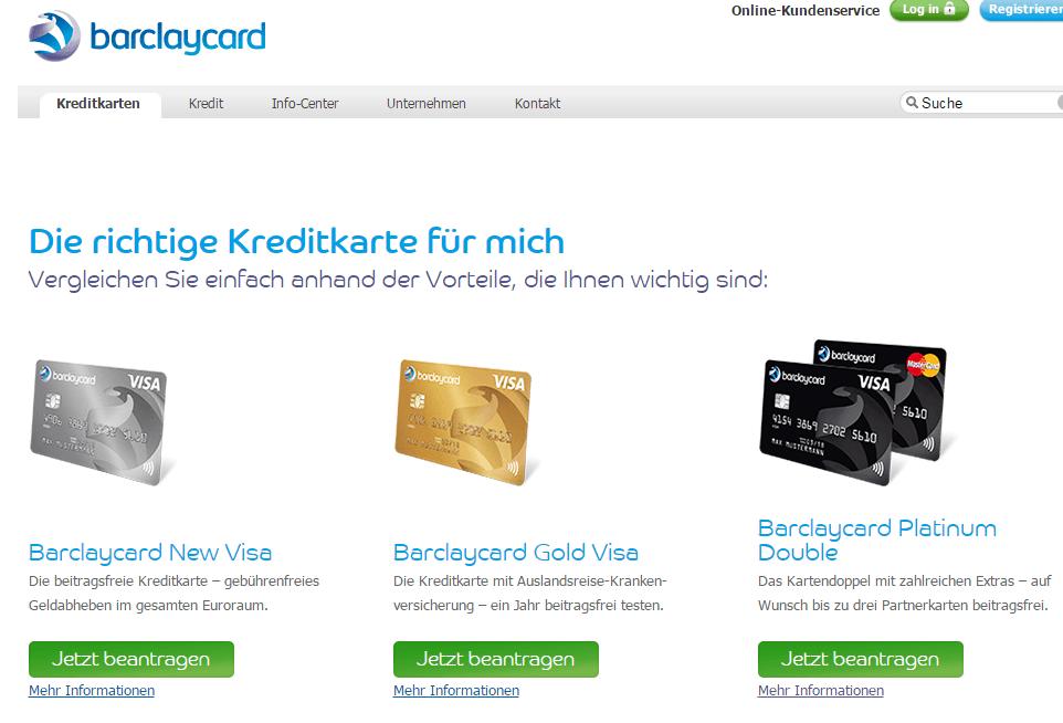 Blick auf die Webseite von Barclaycard