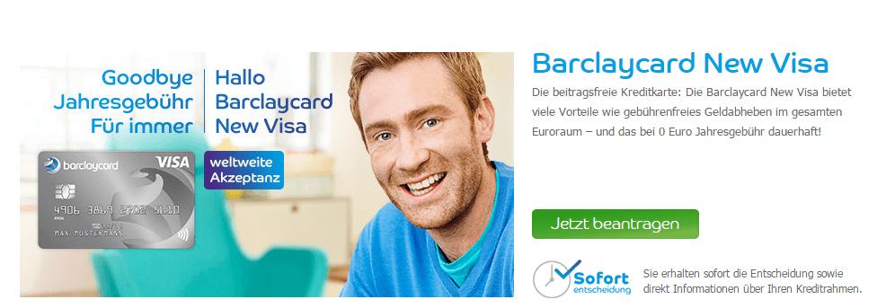 dauerhaft beitragsfrei – so das Angebot für die Barclaycard VISA