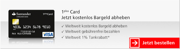 Günstiger tanken mit 1 plus Visa-Card