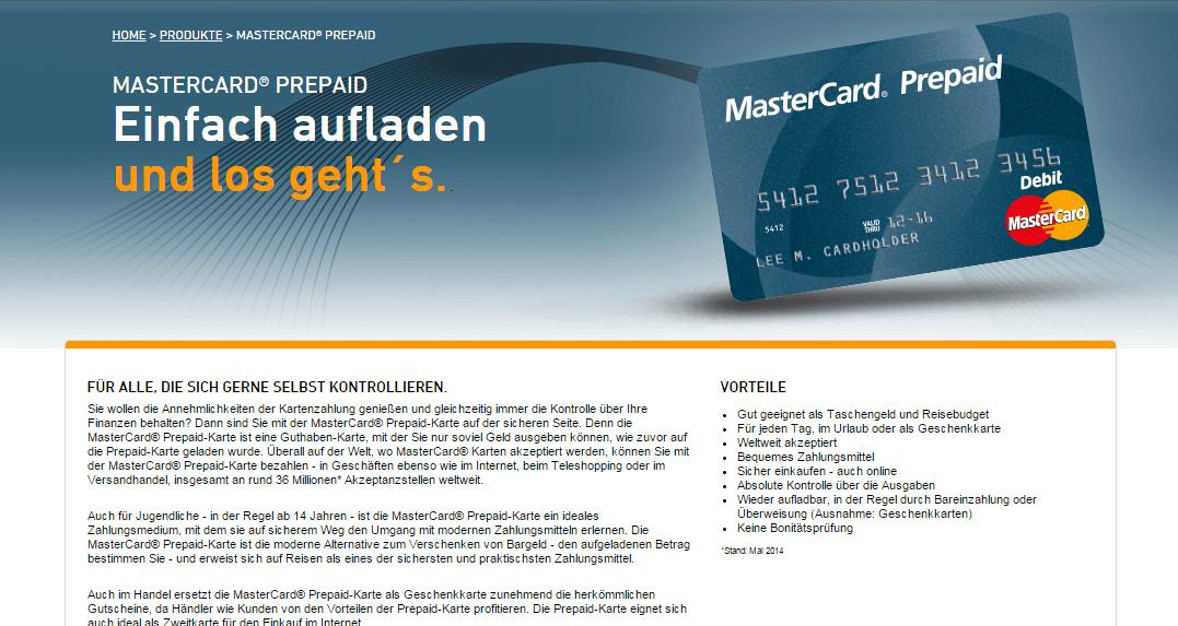 Blick auf ein Angebot von MasterCard – die MasterCard-Prepaid
