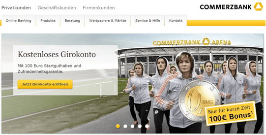 Werbung für das kostenlose Girokonto der Commerzbank