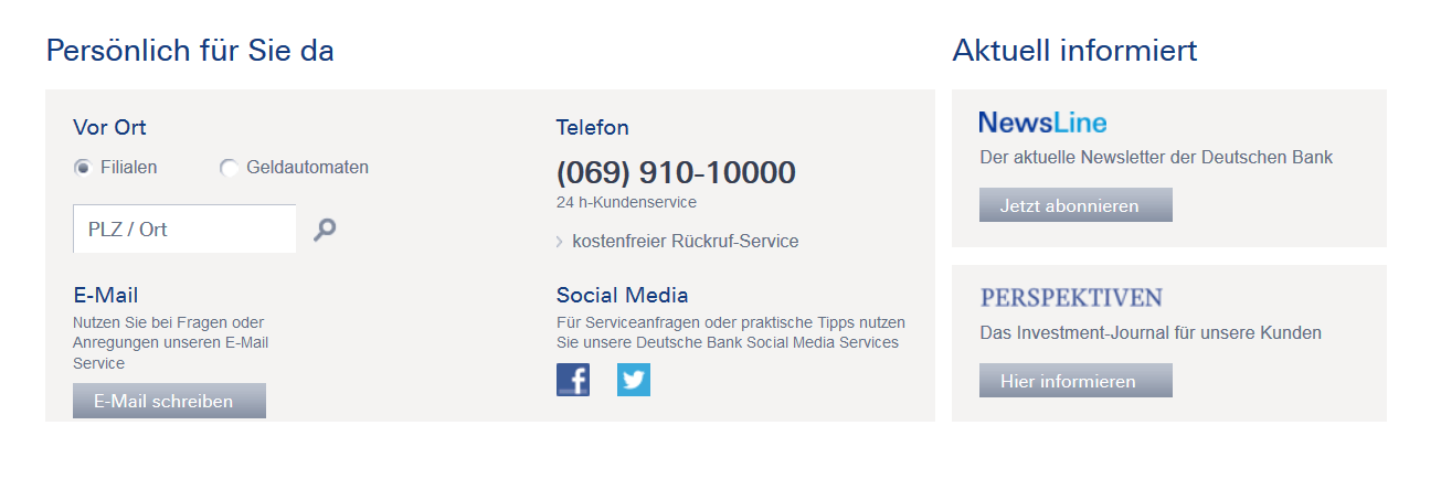 Der Kundendienst der Deutschen Bank ist über verschiedene Wege erreichbar