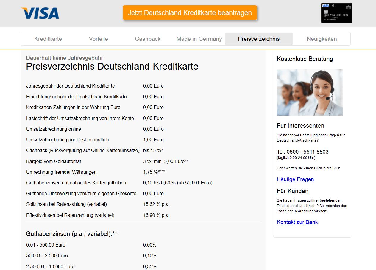 Konditionen im Preisverzeichnis der Deutschland-Kreditkarte