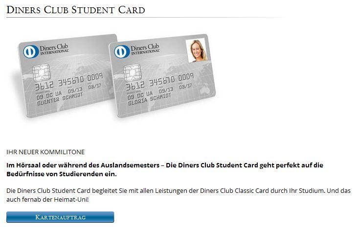 Für Studenten zu empfehlen: Die Diners Club Student Card