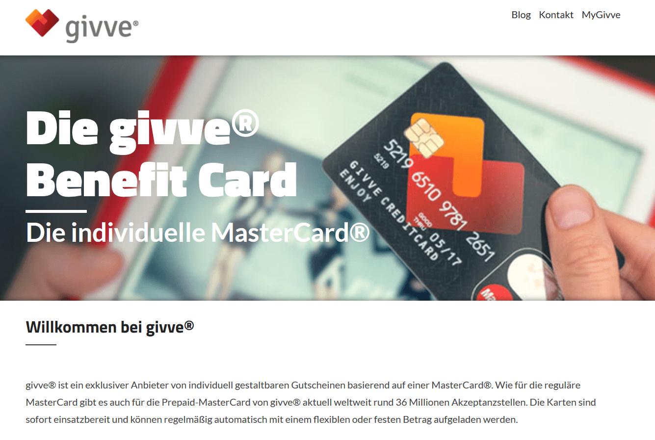 Einweg Kreditkarten als Geschenk von givve
