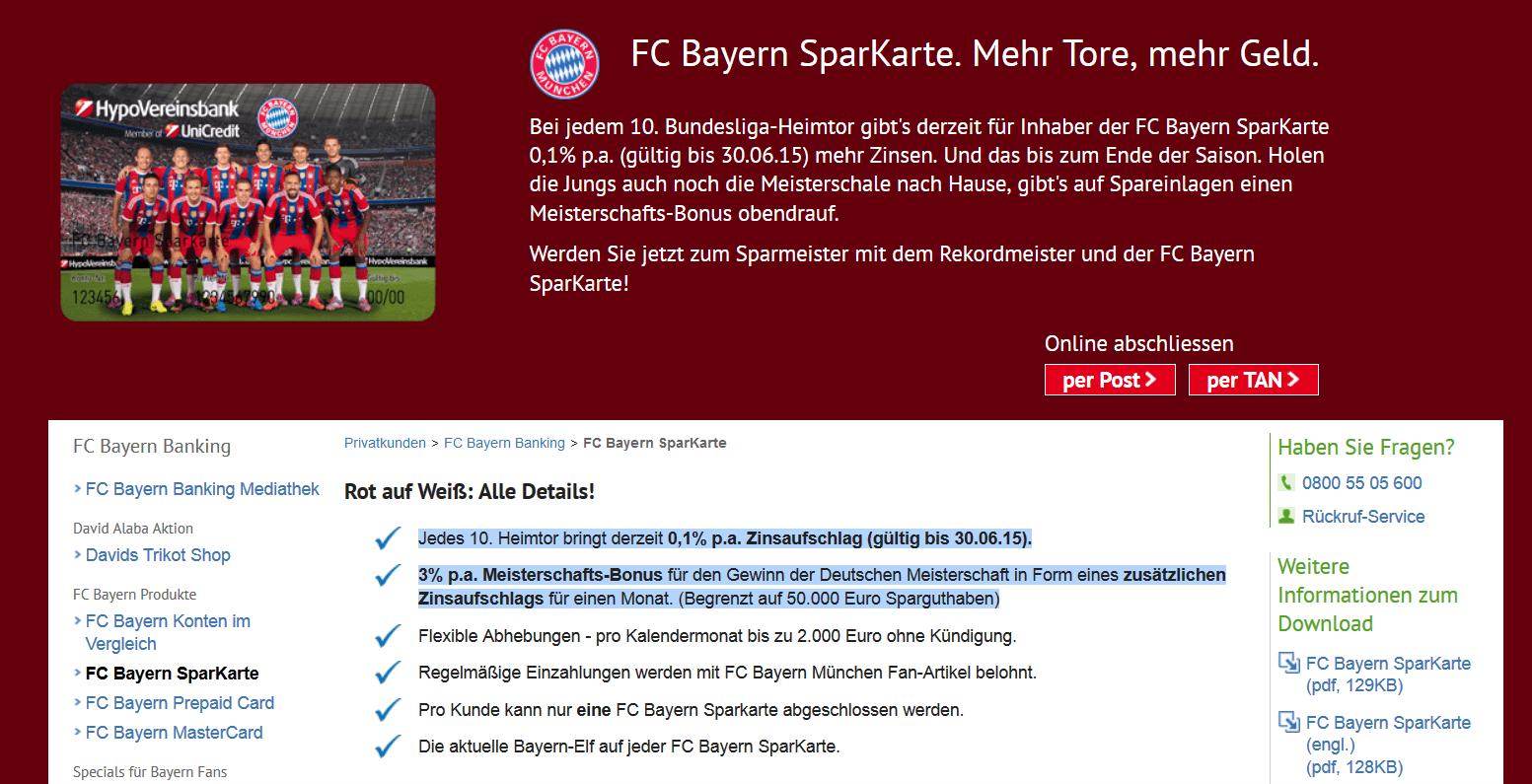 Die Vorteile der FC Bayern SparKarte