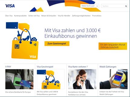 Kreditkarte - Die Homepage von VISA