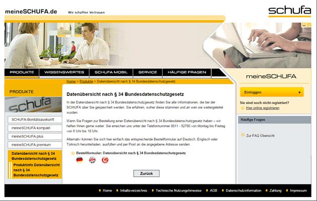 Die kostenlose Schufa-Auskunft nach § 34 Bundesdatenschutzgesetz Alt-Tag: Die Homepage der Schufa