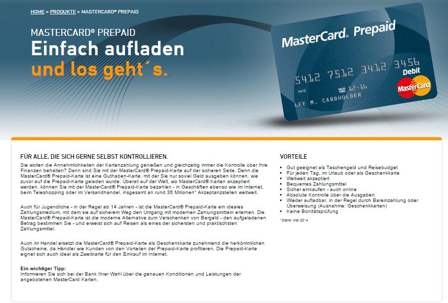 Auf seiner Webseite informiert MasterCard über Prepaid Karten und Herausgeber