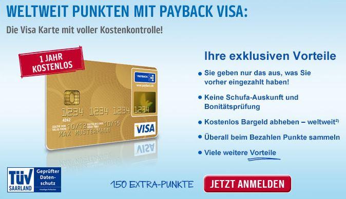Angebot Payback Visa mit Hochprägung