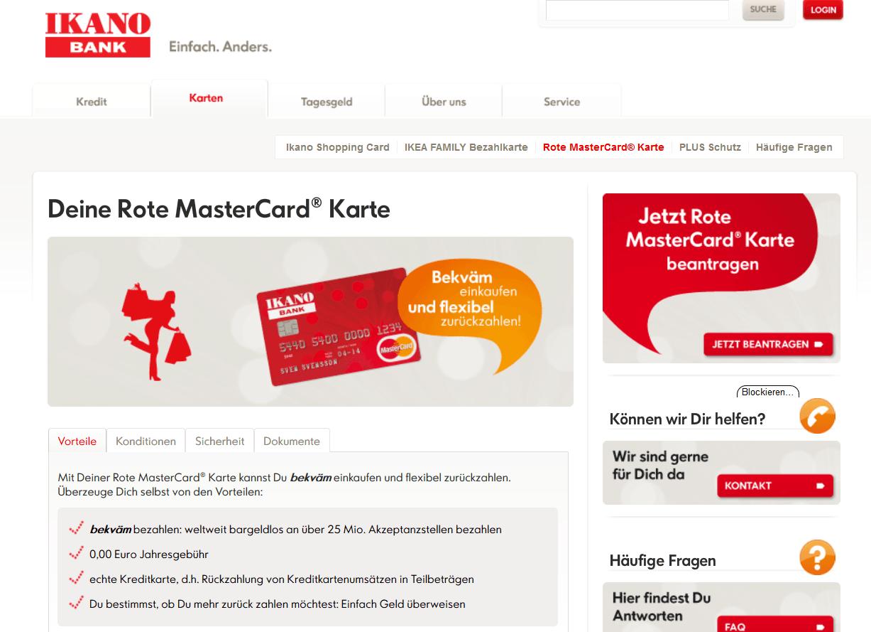 Die rote MasterCard der Ikano Bank