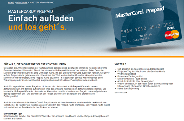 Die Prepaid-Karte von MasterCard