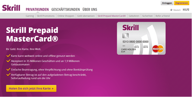 Das Prepaid-Angebot von Skrill