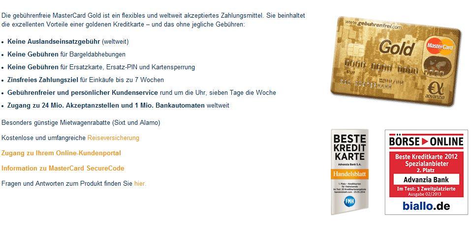 Angebot im Überblick Master Card Gold der Advanzia Bank