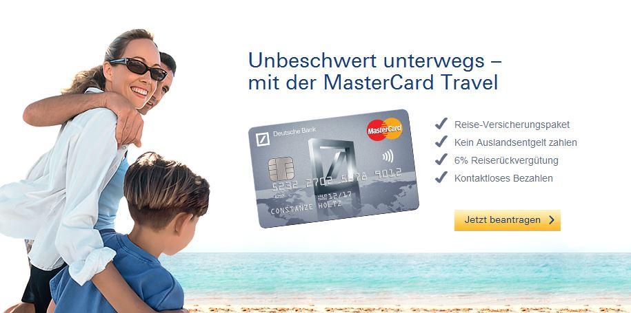 Angebot für die MasterCard Travel von der Deutschen Bank