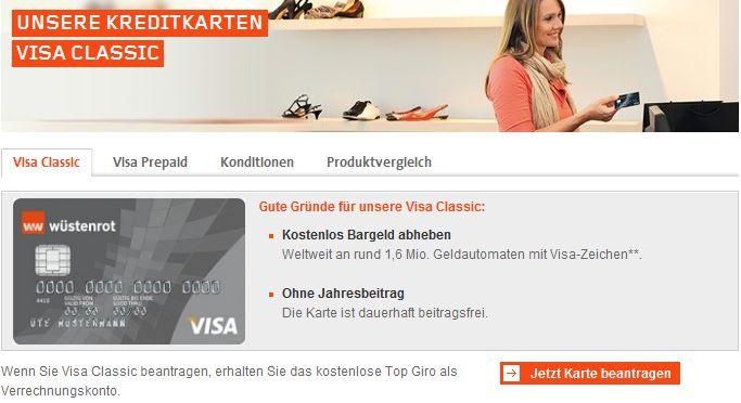Angebot: Wüstenrot Visa Classic Prepaid