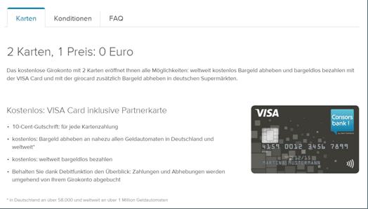 Die Kreditkarte von der Consors Bank