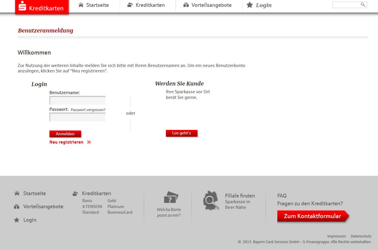 Der Login zum Sparkasse-Kreditkartenportal