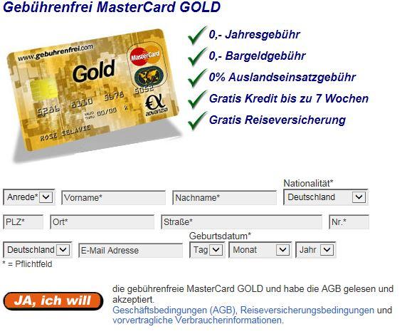 Anmeldefenster MasterCard bei gebührenfrei.com