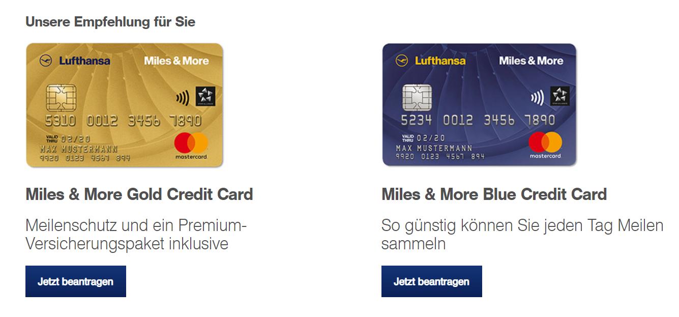 Die Kreditkarten-Empfehlung von Miles & More