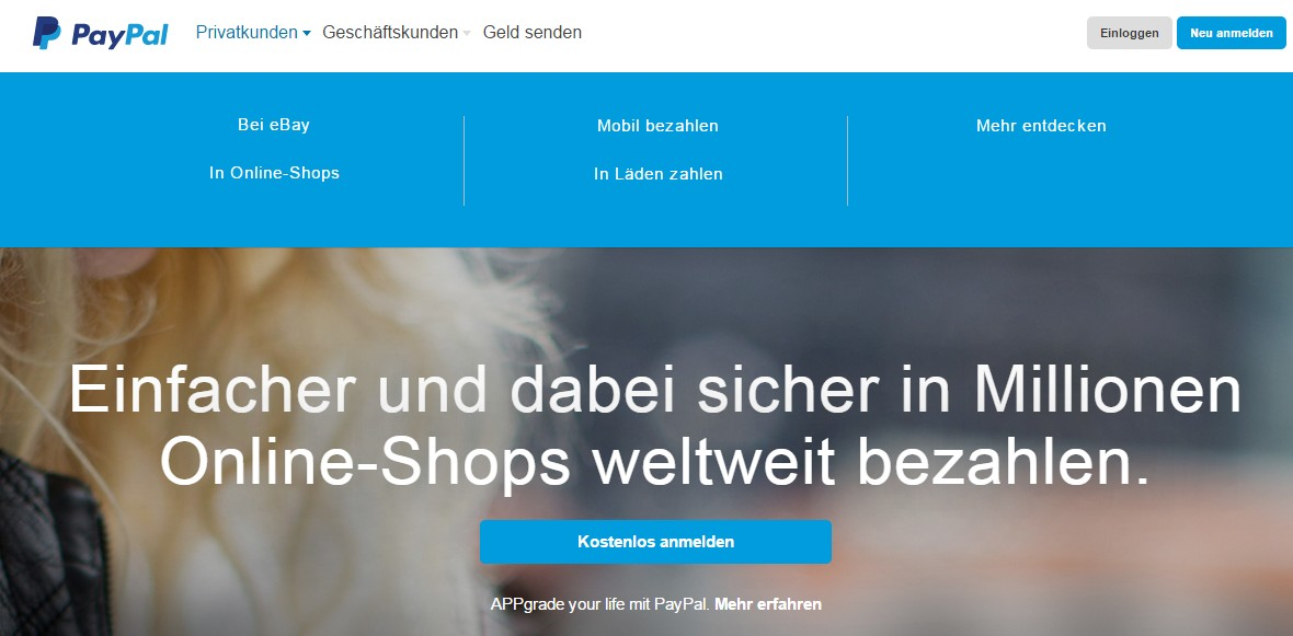 So sieht die Webseite von PayPal aus.