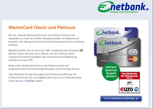 Die Angebotsseite der Netbank für Kreditkarten
