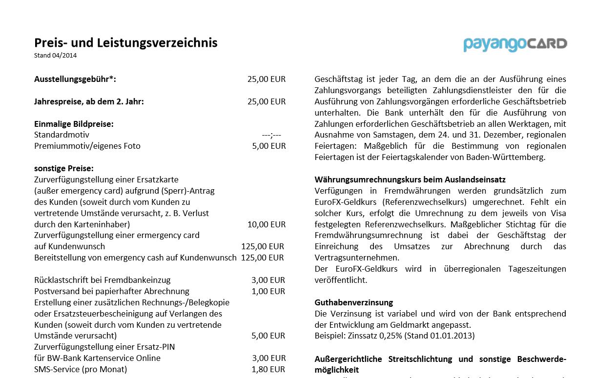 Das Preis- und Leistungsverzeichnis von Payango