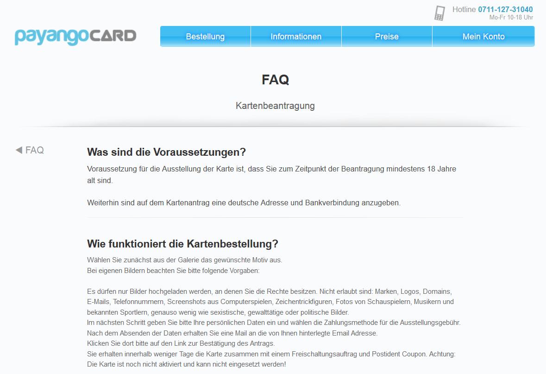 Voraussetzungen in der Payango-FAQ