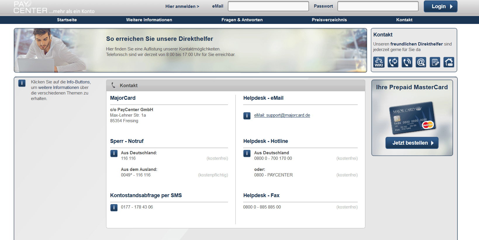Kundensupport von Paycenter