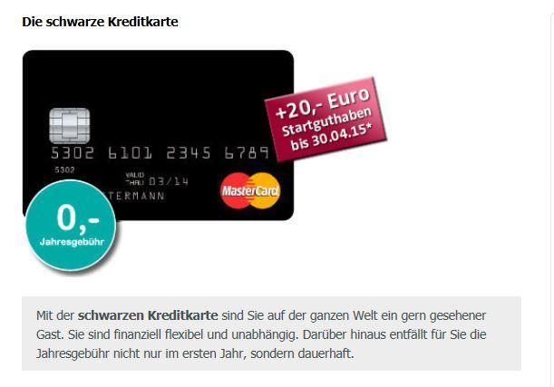Angebot Schwarze Kreditkarte bei der Valovis Bank