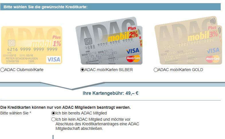Unkomplizierter Antrage: Die Silberne Kreditkarte vom ADAC