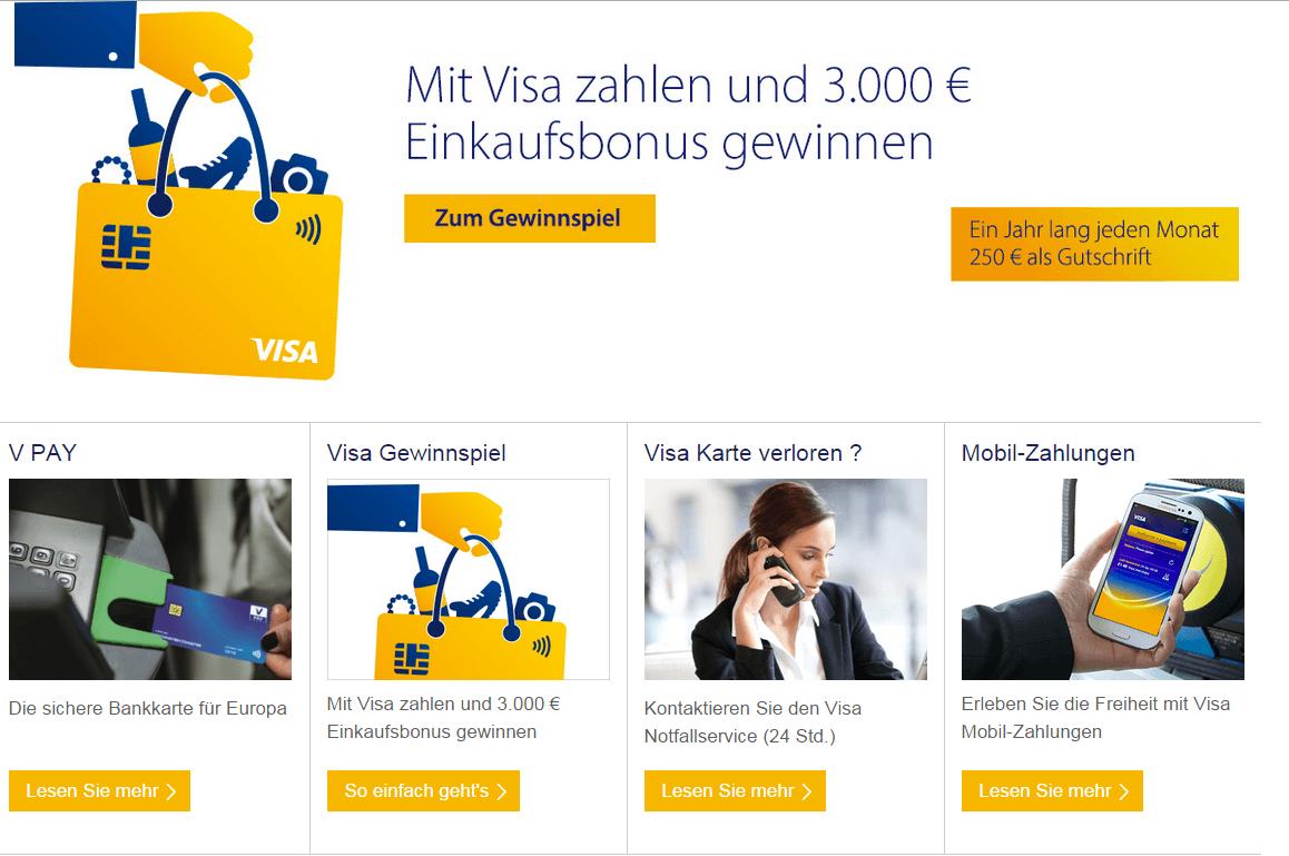 So sieht die Webseite bei VISA Deutschland aus