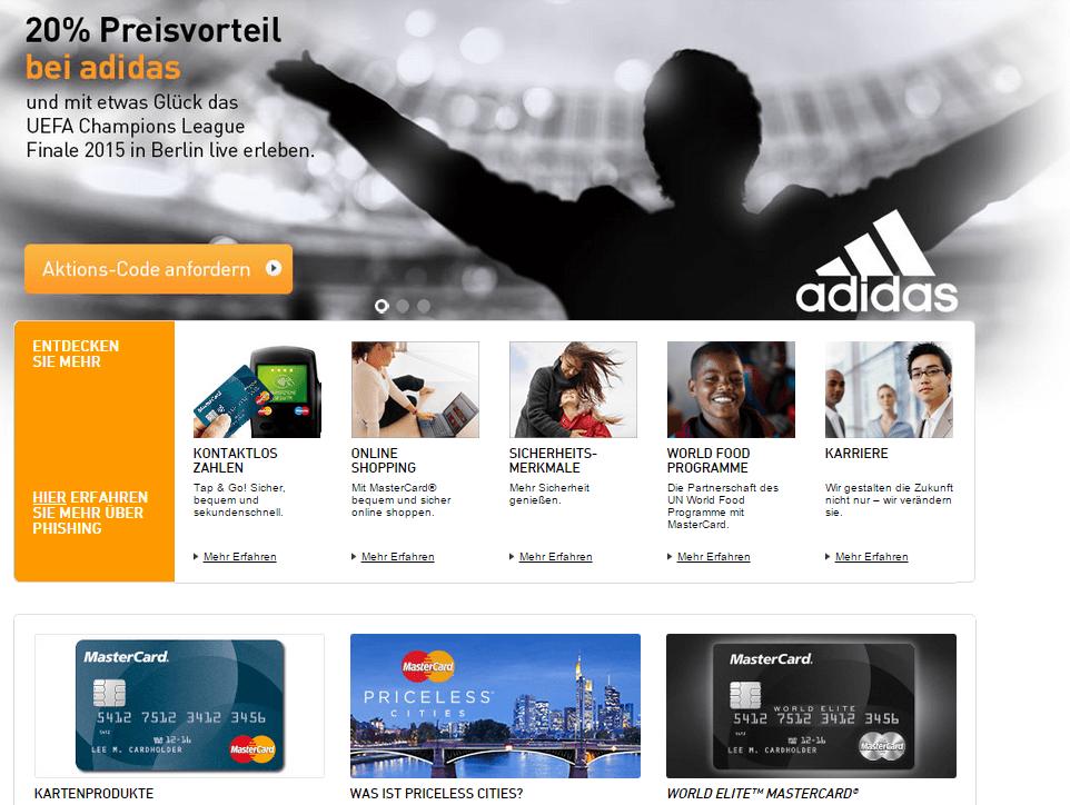 Ein Blick auf die Webseite von MasterCard.