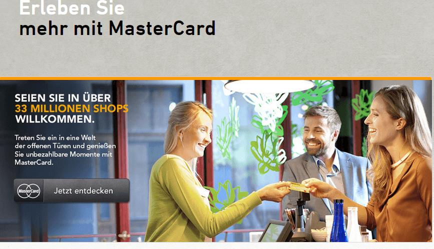 Hier der Blick auf einen Teil der Webseite der bekannten Kartenmarke MasterCard!