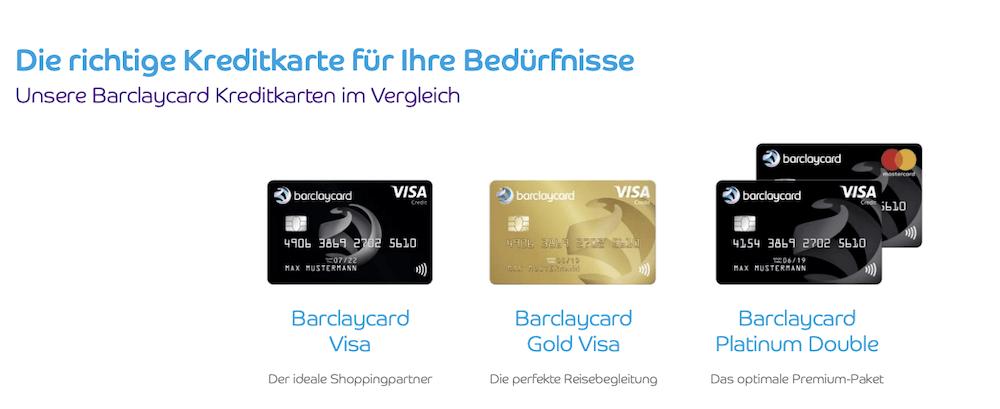 Barclaycard Kreditkarten Übersicht