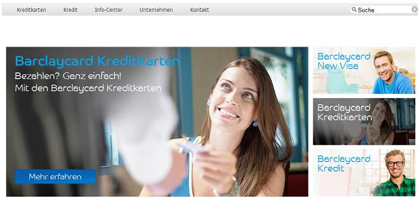 Die Web-Präsenz von Barclaycard