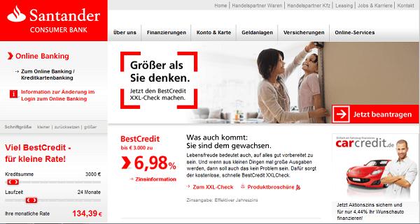Die Webseite von Santander Consumer Bank