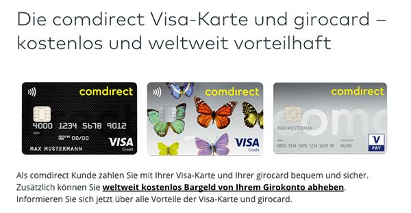 Visa-Karte der Comdirect