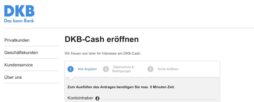 DKB Cash Kontoeröffnung