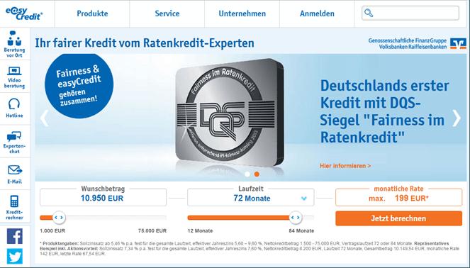 Die Homepage von easyCredit mit dem DQS -Siegel
