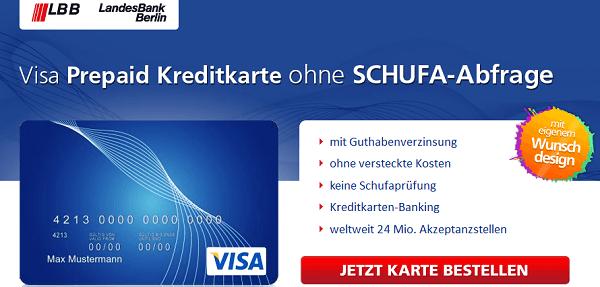 Bonität ist Nebensache: Visa Prepaid Kreditkarte