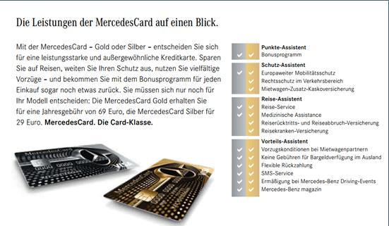Alt-Tag: Ein Vergleich der MercedesCards von der Mercedes Benz Bank