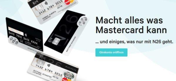 Die Mastercard der N26 gibt es in verschiedenen Designs