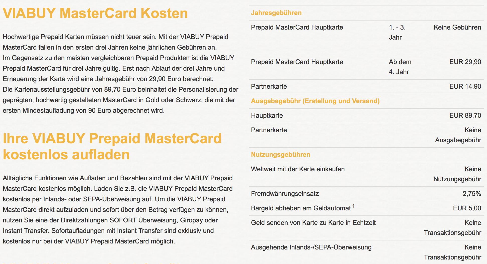 VIABUY MasterCard Kostenübersicht